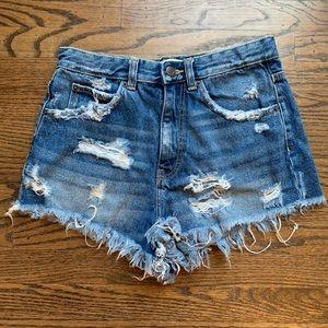 ZARA blue denim high wasted shorts